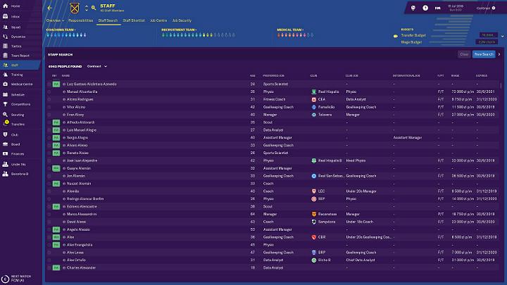 Przekazanie kontroli asystentowi nad zatrudnianiem nowych pracownik pozbawi Cię możliwości wyboru osób, które rzeczywiście spełniają Twoje oczekiwania - Dobre zarządzanie klubem w Football Manager 2019 - Football Manager 2019 - poradnik do gry
