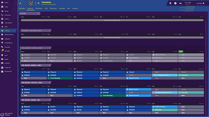 Kalendarz treningowy został podzielony na bloki jednotygodniowe, a w każdym z nich możesz zaplanować 7 dni treningowych - Treningi w Football Manager 2019 - Football Manager 2019 - poradnik do gry