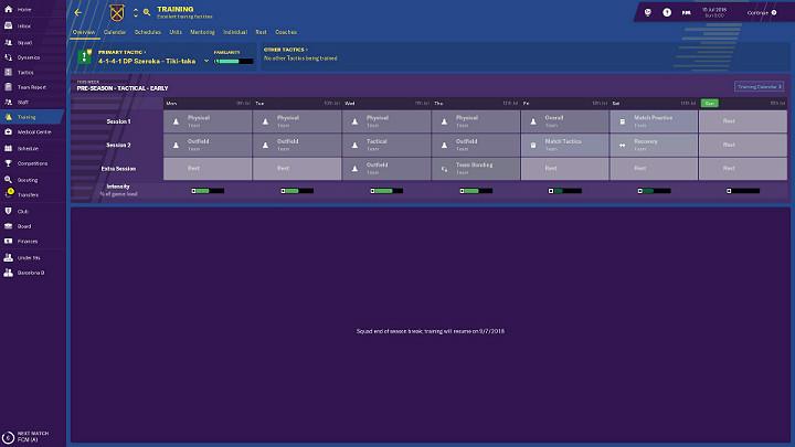 Kolejną bardzo istotną sprawą przy planowaniu treningów jest intensywność - Treningi w Football Manager 2019 - Football Manager 2019 - poradnik do gry