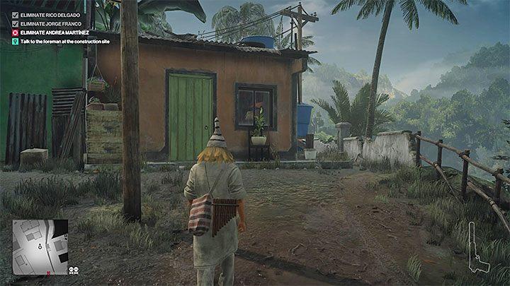 Dotrzyj w tym przebraniu do miasteczka i zainteresuj się pomarańczowym budynkiem z powyższego obrazka, z którego powinien wyjść jeden z mieszkańców - Santa Fortuna | Trofea w grze Hitman 2 - Hitman 2 - poradnik do gry