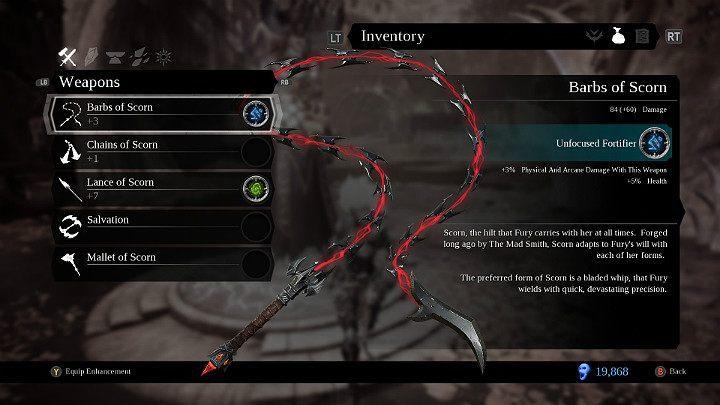 Pierwsza i podstawowa broń Furii w grze Darksiders 3 - Bronie w grze Darksiders 3 - Darksiders 3 - poradnik do gry