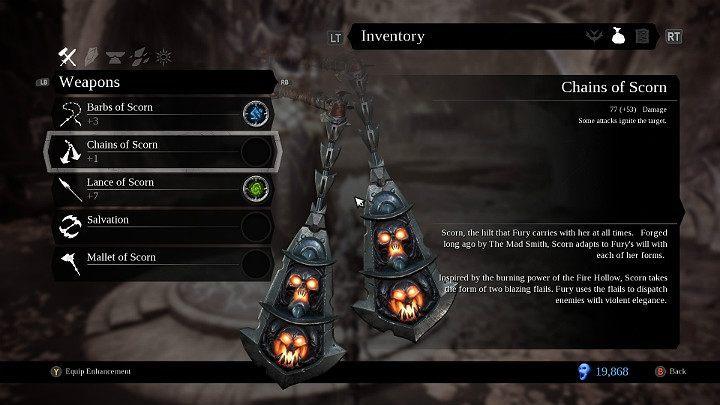 Łańcuchy pogardy to druga dodatkowa broń w Darksiders 3, do której masz dostęp po zdobyciu esencji płomienia - Bronie w grze Darksiders 3 - Darksiders 3 - poradnik do gry