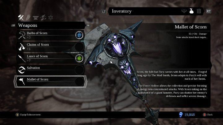 Młot pogardy jest trzecią z kolei bronią w Darksiders 3, którą otrzymujesz w momencie odblokowania esencji siły - Bronie w grze Darksiders 3 - Darksiders 3 - poradnik do gry