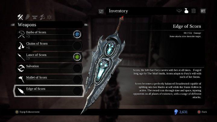 Ostrze pogardy to pierwszy i jedyny miecz w asortymencie Furii - Bronie w grze Darksiders 3 - Darksiders 3 - poradnik do gry