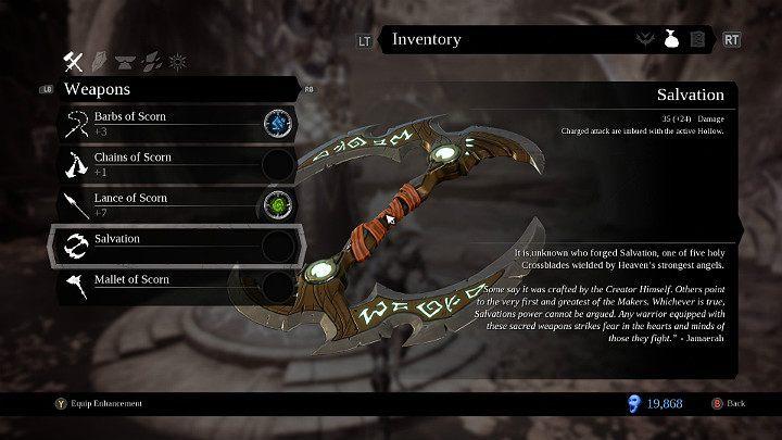 Zbawienie to broń miotana, którą otrzymasz od Usiela - Bronie w grze Darksiders 3 - Darksiders 3 - poradnik do gry