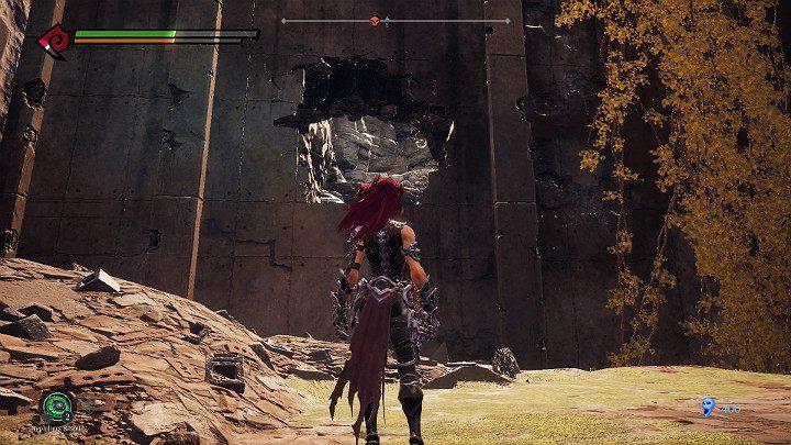 Po zakończonej walce przejdź przez dziurę w ścianie widoczną na powyższym obrazku - Zachodni kraniec | Solucja do gry Darksiders 3 - Darksiders 3 - poradnik do gry