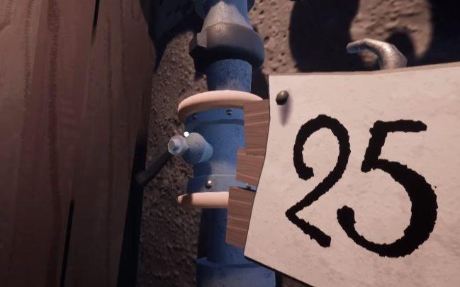 W kolejnym budynku znajdziesz dwie dźwignie umieszczone koło kartki z numerem 25 - Zadanie czwarte - cmentarz - Hello Neighbor Hide and Seek - poradnik do gry