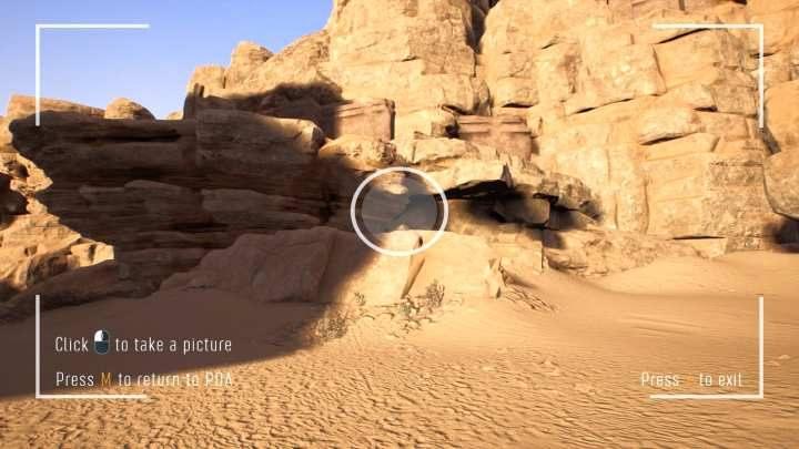 Jeśli staniesz wewnątrz ikonki aparatu i odpowiednio ustawisz aparat, na środku ekranu pojawi się biały okrąg. - Jak robić zdjęcia w Treasure Hunter Simulator? - Treasure Hunter Simulator - poradnik do gry