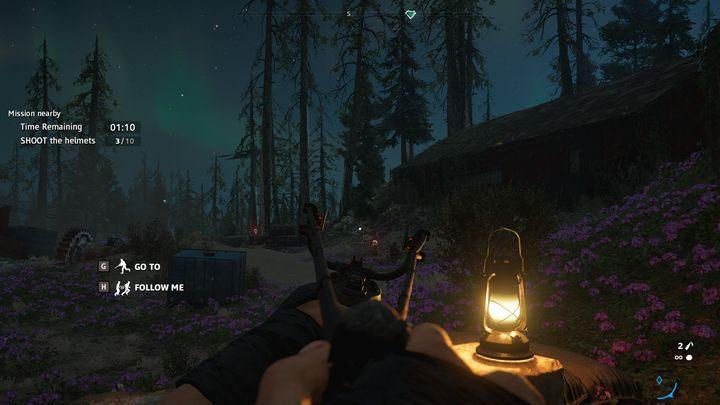 Na tym etapie musisz zestrzelić poruszające się hełmy - Pazury kruka, oczy orła | Zadania poboczne w Far Cry New Dawn - Far Cry New Dawn - poradnik do gry