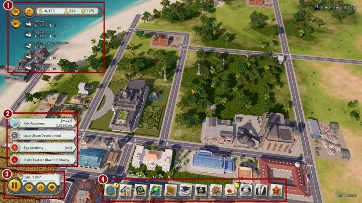 Na powyższym obrazku zaznaczone są następujące elementy - Interfejs w Tropico 6 - Tropico 6 - poradnik do gry