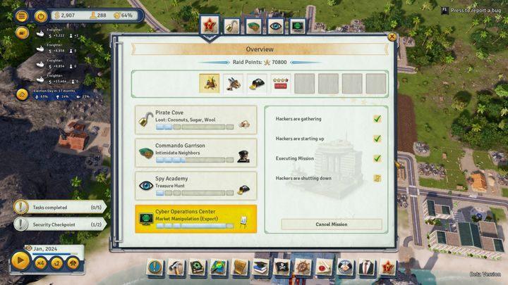 Główny panel zawiarający informacje o wszystkich przeprowadzanych w danym momencie rajdach. - Rajdy w Tropico 6 - Tropico 6 - poradnik do gry