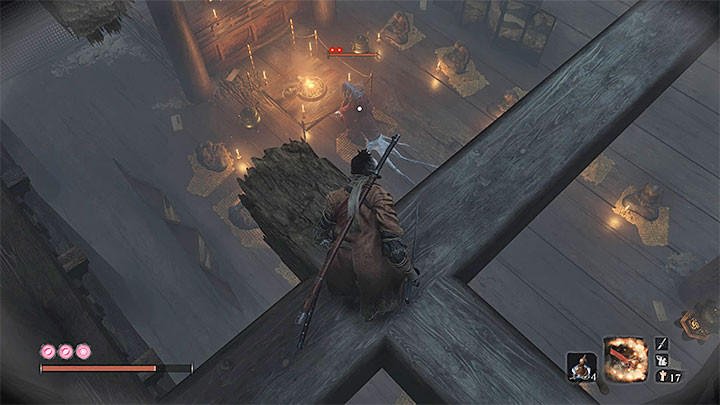 Obejdź dach ze wszystkich stron żeby znaleźć dziurę w dachu - Głębiny w Ashinie (Ashina Depths) | Solucja Sekiro Shadows Die Twice - Sekiro Shadows Die Twice - poradnik do gry