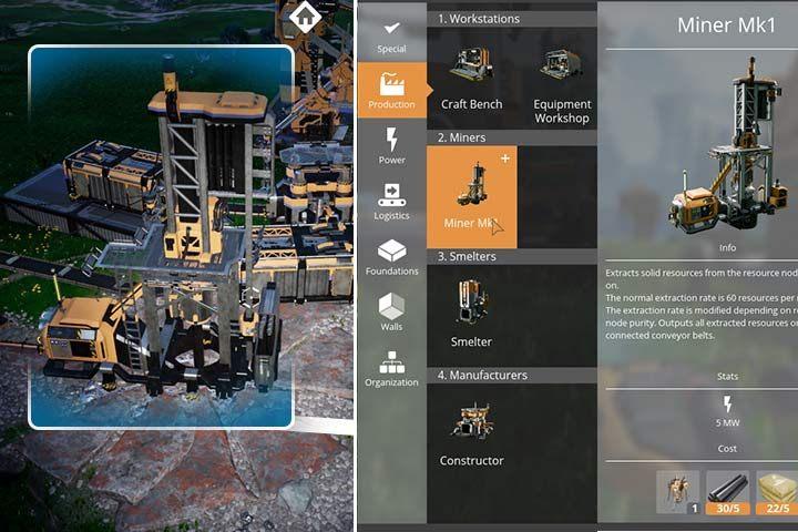 Najlepszy i najbardziej efektywny sposobem wydobycia surowców jest postawienie specjalnego obiektu - Kopalni wersji 1(Miner MK1) - Wydobycie surowców w Satisfactory - Satisfactory - poradnik do gry