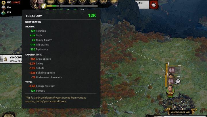 Poziom skarbca i jego stan w następnej turze. - Przygotowania do wojny z innymi frakcjami w Total War Three Kingdoms - Total War Three Kingdoms - poradnik do gry