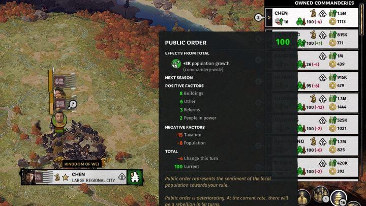 Warto zadbać o poziom porządku publicznego w komanderiach. - Przygotowania do wojny z innymi frakcjami w Total War Three Kingdoms - Total War Three Kingdoms - poradnik do gry