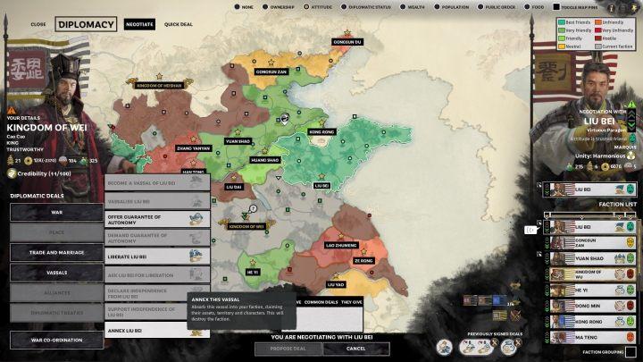 Czasami warto wykorzystać dyplomację, by zdobyć tereny bez walk. - Przygotowania do wojny z innymi frakcjami w Total War Three Kingdoms - Total War Three Kingdoms - poradnik do gry