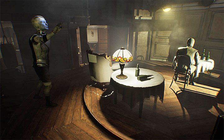 Wciśnięcie przycisku opuszcza krzesło - Zagadka z wiszącym krzesłem | Rozwiązanie zagadki w Layers of Fear 2 - Layers of Fear 2 - poradnik do gry