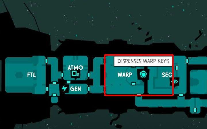 Po zinfiltrowaniu wrogiego statku odszukaj na mapie pomieszczenie WARP (przykład na obrazku) i udaj się tam - Jak zdobywać klucze Warp Key w Void Bastards? - Void Bastards - poradnik do gry