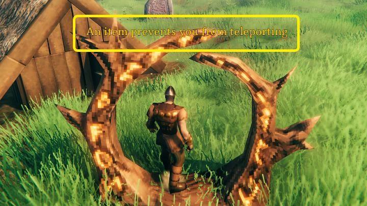 Если вы хотите пройти через портал, и на экране отображается сообщение о том, что предмет препятствует телепортации вашего персонажа, вам нужно проверить свой инвентарь и найти его - Valheim: Portals - Valheim - Game Guide
