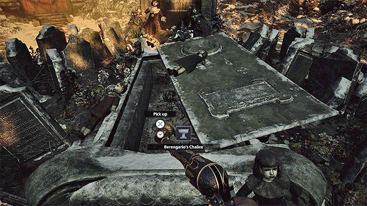 Взаимодействуйте с мемориальной доской на надгробной плите и используйте на ней Сломанную плиту - Resident Evil Village: Gold Chests - карта, описания, список всего - Resident Evil Village Game Guide
