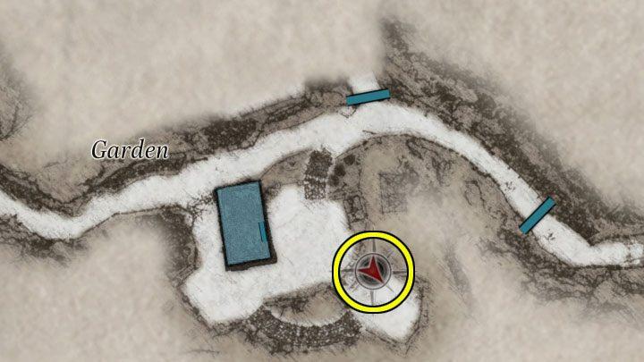 Шар Солнца и Луны, необходимый для мини-игры с моделью, можно найти к югу от дома, на небольшом кладбище с надгробиями, частично засыпанными снегом - Resident Evil Village: Загадка лабиринта - Загадка лабиринта - Resident Evil Village - Игра Гид