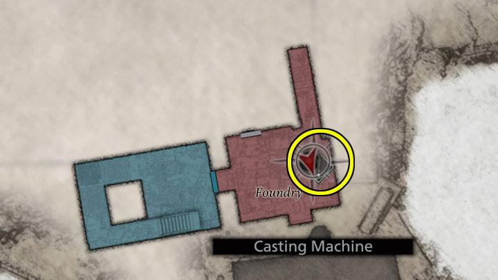 С найденной фермой вы должны добраться до литейной машины в литейной на уровне MB4 - Resident Evil Village: The лабиринт головоломки - Labyrinth Puzzle - Resident Evil Village Game Guide