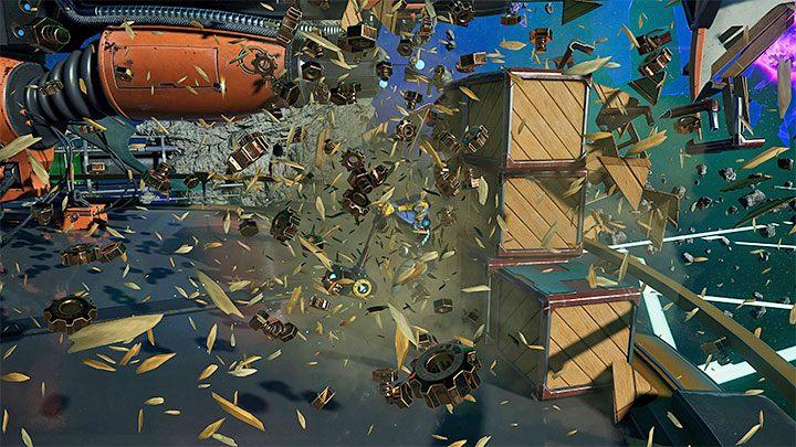 Исследуя последующие места в Ratchet & Clank Rift Apart, стоит попытаться уничтожить все объекты в этом районе, уделяя особое внимание скоплениям ящиков - Ratchet & Clank Rift Apart: Советы по началу - Руководство по игре Ratchet & Clank Rift Apart