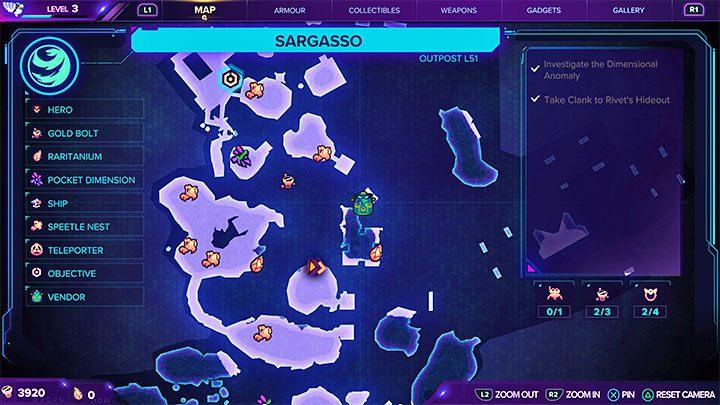 Очень полезной особенностью экрана карты в Ratchet & Clank Rift Apart является то, что он постоянно обнаруживается, и вы можете легко определить, какие места еще предстоит исследовать - Ratchet & Clank Rift Apart: советы по началу - Ratchet & Clank Rift Apart - руководство по игре