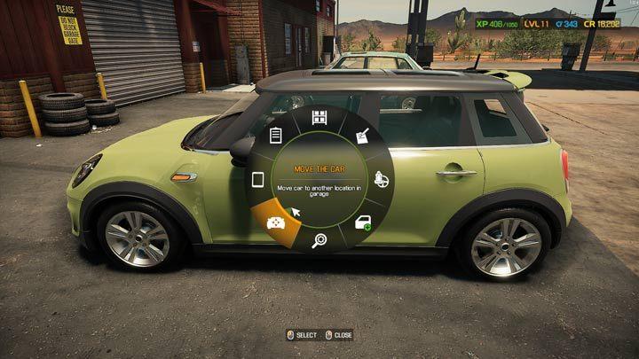 Активируйте меню колеса на автомобиле, ожидающем ремонта, и выберите функцию движения - Car Mechanic Simulator 2021: Замена деталей - руководство по игре Car Mechanic Simulator 2021