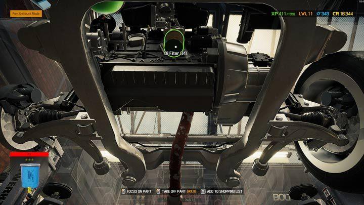 Некоторые компоненты двигателя, такие как масляный фильтр или масляный поддон, требуют доступа снизу - Car Mechanic Simulator 2021: Замена деталей - Руководство по игре Car Mechanic Simulator 2021