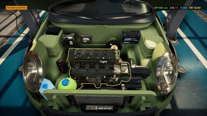 Нажатие на двигатель или подвеску немедленно активирует режим разборки по умолчанию - Car Mechanic Simulator 2021: Замена деталей - Руководство по игре Car Mechanic Simulator 2021