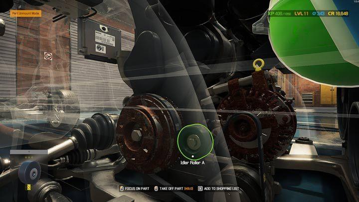 Зеленый цвет означает, что деталь можно разбирать - Car Mechanic Simulator 2021: Замена деталей - Руководство по игре Car Mechanic Simulator 2021