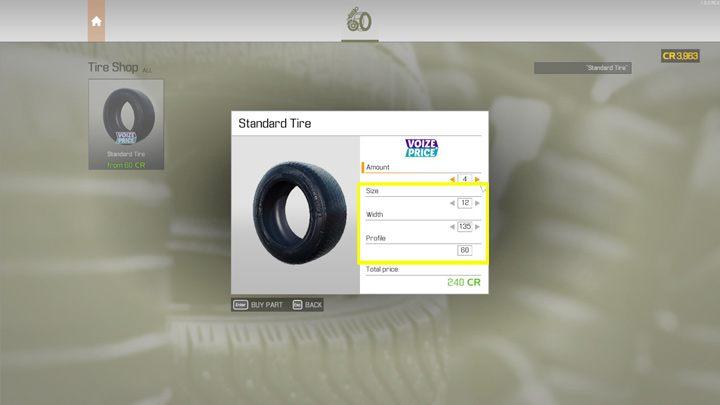 При покупке шин или дисков внимательно относитесь к параметрам и выбирайте ширину, размер и профиль в соответствии с рисунком используемой детали - Car Mechanic Simulator 2021: Замена деталей - Гайд по игре Car Mechanic Simulator 2021