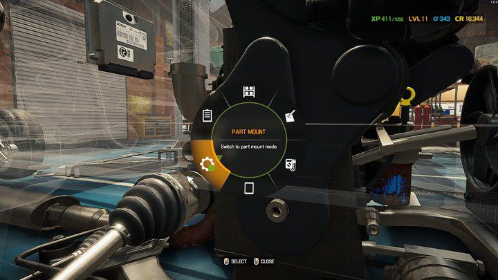 Выберите режим сборки деталей в меню колеса - Car Mechanic Simulator 2021: Замена деталей - Руководство по игре Car Mechanic Simulator 2021