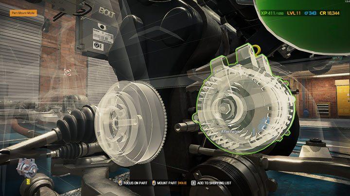 Недостающие устанавливаемые детали будут выделены, а зеленым кружком - те, которые можно установить первыми - Car Mechanic Simulator 2021: Замена деталей - Руководство по игре Car Mechanic Simulator 2021
