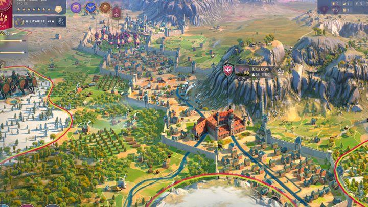 """Краков стремится защитить государственные границы. Поэтому создание районов и гарнизонов между горами и разными территориями имеет более стратегическое значение, чем потенциальное экономическое расширение города. - Человечество: Города - как и где строить? - Руководство по игре """"Человечество"""""""