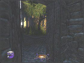 W nim skr�� w prawo i na drodze ponownie w prawo, a znajdziesz si� przy znanej ci tawernie - Dzie� pierwszy [Opis 7] - Miasto - Thief: Deadly Shadows - poradnik do gry
