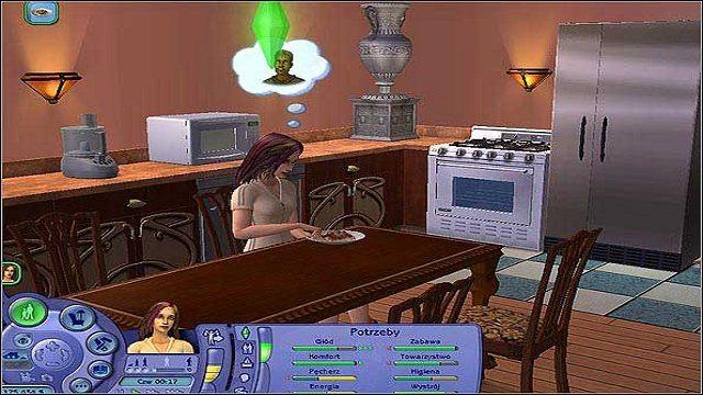 Należy mieć oczywiście lodówkę, kuchenkę oraz jakąś wolną półkę, na której możemy przygotować składniki przed gotowaniem - Potrzeby - The Sims 2 - Pełna Kolekcja - poradniki