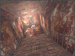 Na ko�cu korytarza natrafisz na schody - Podziemne przej�cie (6) - Etap 2 - Silent Hill 4: The Room - poradnik do gry