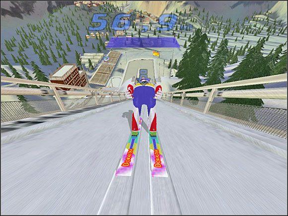 Faza 2: Klikamy lewym przyciskiem myszy i zaczynamy zjazd - Skok - sterowanie, porady - Skoki narciarskie 2005 - poradnik do gry