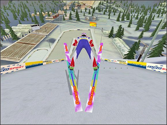 Faza 4: Po wybiciu z progu, szybko należy skierować myszkę do siebie - Skok - sterowanie, porady - Skoki narciarskie 2005 - poradnik do gry
