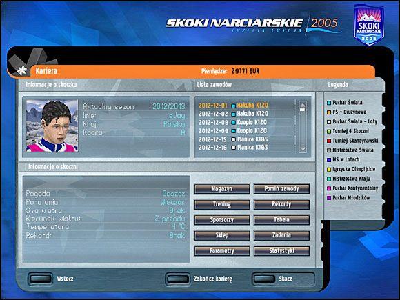W menu głównym kariery mamy dostęp do wszystkich ważniejszych opcji - Kariera - menu główne - Skoki narciarskie 2005 - poradnik do gry