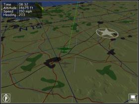 W tym miejscu jesteśmy według AI. Pod nami powinny być tylko pola, a jak widać wyżej są tory i droga. - Nawigacja - Teoria - B-17 Flying Fortress II: The Mighty 8th - poradnik do gry