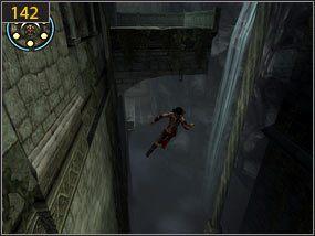 Na końcu korytarza opuszczamy się w dół [141] i idąc po gzymsie skaczemy na drugą stronę w kierunku kolumny [142] - Południowe przejście - teraźniejszość (3) - Mroczna dłoń losu - Prince of Persia: Dusza Wojownika - poradnik do gry