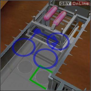 Powyższy przykład to dwa sensory (płyty naciskowe) połączone z jedną pułapką (klatka z gazem) - Pułapki - Evil Genius - poradnik do gry