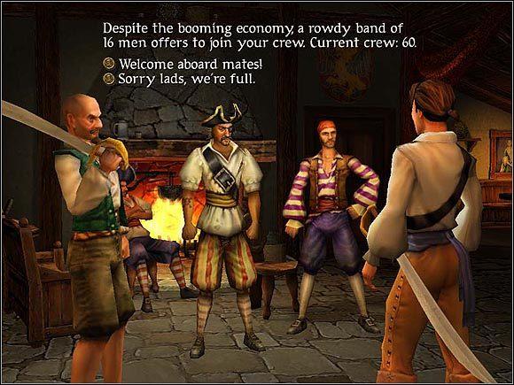 Prosperująca gospodarka w porcie nie sprzyja podczas naboru rekrutów - Nabór - Załoga - Sid Meiers Pirates! (2004) - poradnik do gry