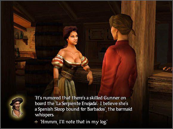 Barmanka może udzielić nam informacji na temat miejsca pobytu specjalistów - Specjaliści - Załoga - Sid Meiers Pirates! (2004) - poradnik do gry