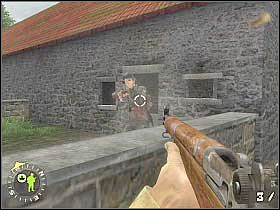 Drużynę podeślij do ukazanego na drugim screenie murku, tak aby mogła zająć się znajdującymi po drugiej stronie strumyka żołnierzami (a raczej odwrócić ich uwagę) - Foucarville Blockade (1) - Rozdział 6 - Brothers in Arms: Road to Hill 30 - poradnik do gry