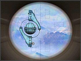 Na ka�dym z teleskop�w zawieszony by� pomost z olbrzymim urz�dzeniem do wysy�ania d�wi�k�w, a na nim rz�d sze�ciu przycisk�w - 11 MARU cz.2 - Sentinel: Stra�nik Grobowca - poradnik do gry