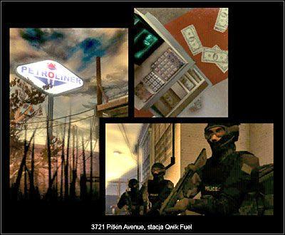 Na sklep Qwik Fuel napadła grupa osób - prawdopodobnie w poszukiwaniu psychotropów i pieniędzy - Sklep Qwik Fuel - Sytuacja - Misja 3 - SWAT 4 - poradnik do gry